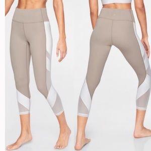 ATHLETA Leggings Mesh Inserts Tan & White Sz M